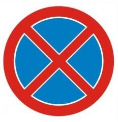 Znak Zakaz zatrzymywania...