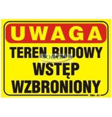 Znak tablica UWAGA TEREN...