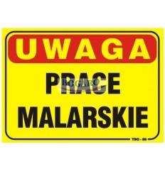 Znak tablica UWAGA PRACE...