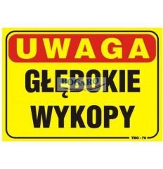 Znak tablica UWAGA GŁĘBOKIE...