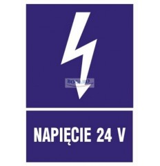 Znak Naklejka NAPIĘCIE 24V...