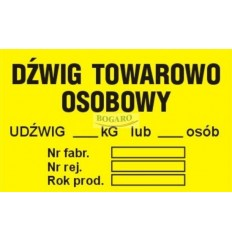 Znak naklejka TID-03 Dźwig...